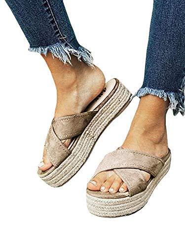 Womens Slip On Platform Slide Sandals Espadrille Cross Strap Summer Flats Shoes