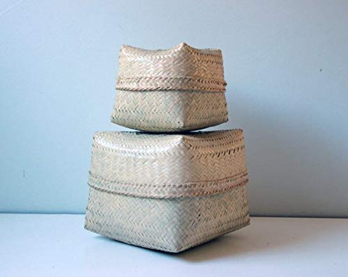 Set o f 2 Vintage Indonesian Hand Woven Bamboo Boxes with lid - Medium and Small Basket - Bamboo Gift Box - Storage Box