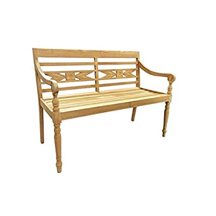 Admirable Amazon Com D Art Collection Natural Teak Wood Garden Bench Creativecarmelina Interior Chair Design Creativecarmelinacom
