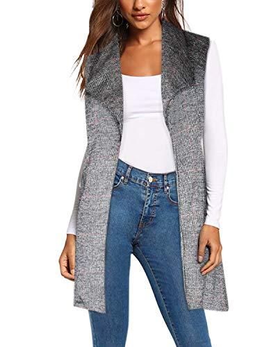 Women's Vest Jacket Cardigan Blazer with self Fabric Belt KJK1142X 10951 HEATHERGRE 2X ()