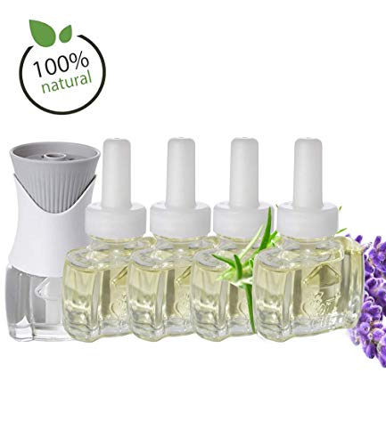 (4 Pack) 100% Natural Lavender Scent Fill® Brand Plug in Refills and (1) Air Wick® PlugIn Warmer (Natural Plug)
