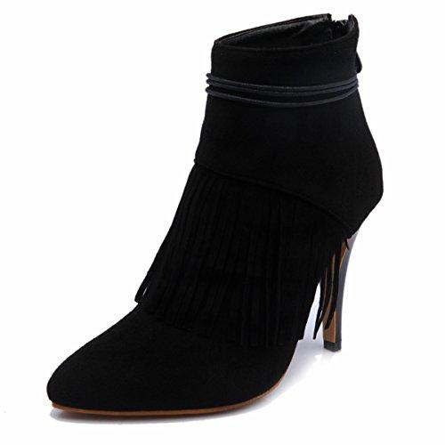 Komfortable Winter Kurze Schwarz Kleid Elegante 2016 Knöchel Heels von Spitze Quaste Damenmode Damen Stiefel Neue Meijia Stiletto Schuhe q7Y5Fw