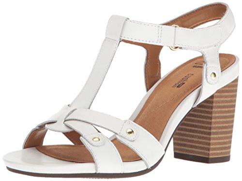 Clarks Women's Banoy Valtina Dress Sandal, White Leather, 5.5 M US