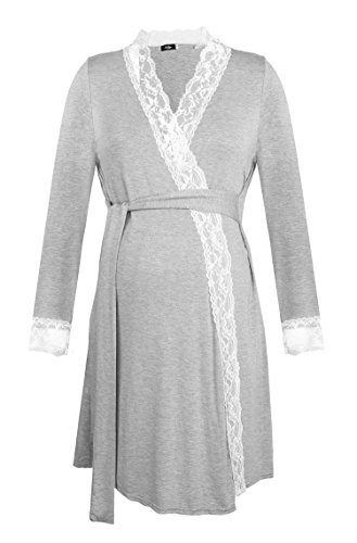 - Molliya Maternity Nursing Robe Long Sleeve Lace Trim Bathrobe Cotton Sleepshirts for Breastfeeding(Gray,L)