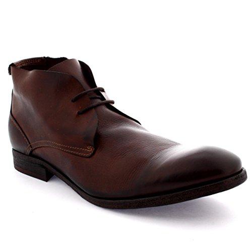 Mens H By Hudson Osbourne Arbeta Formell Läder Vintage Vinter Chukka Boots Brown