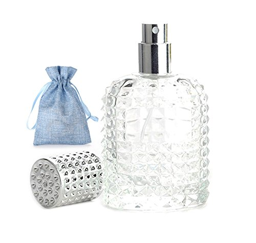 JJKMALL- 50ml Thick Clear Glass Fine Mist Spray Scent Aftershave Luxury Perfume Bottle Empty Atomizer Bottle Makeup Tool 1pc Free Funnel Filler 1PC Free 3ml Dropper 1pc Free Storage Bag