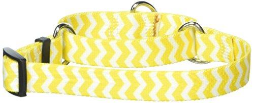 Chevron Lemon Martingale Control Dog Collar - Size Small 14
