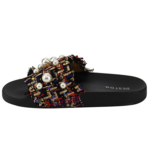 Beston Em12 Womens Mode Bohemiska Platt Sommar Toffel Sandal Med Faux Pärla Svart