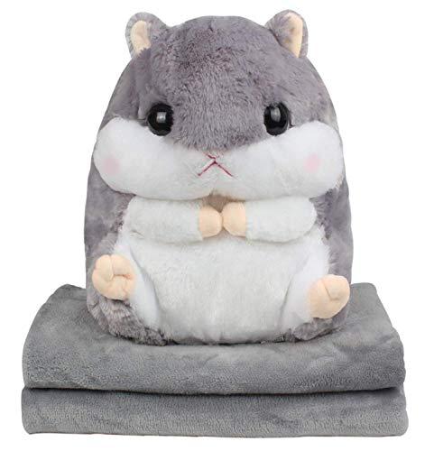Alpacasso 3 In 1 Cute Hamster Plush Stuffed Animal Toys Throw Pillow Blanket Set ()