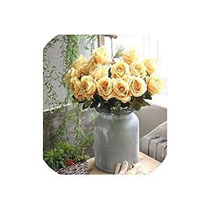 July-Seven 10 Pcs/Lot Wedding Decoration White Rose Artificial Flowers Romantic Date/Party Sending Roses Flower Bouquet Home/Wedding Decor 61