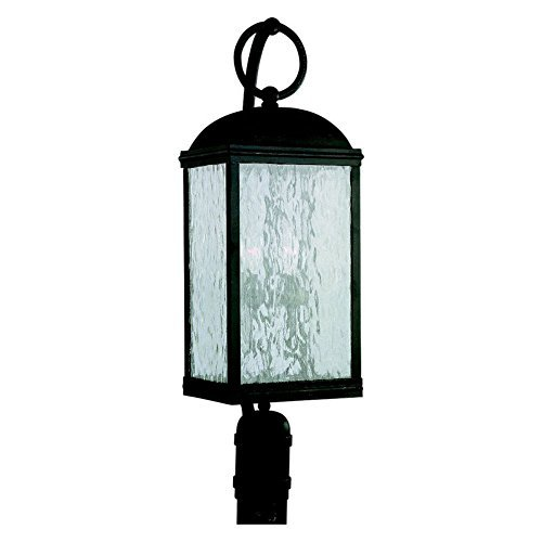Sea Gull Lighting 82190-802 Outdoor Post Mount with Seeded Water Glass Shades, Obsidian Mist Finish by Sea Gull Lighting - Obsidian Mist