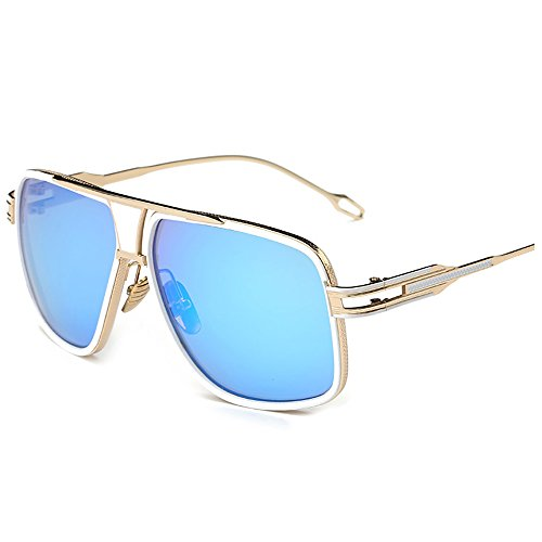 Kaimao Classic Aviator Sunglasses Metal Frame UV Protection Unisex Goggle Sunglasses with Case and Cloth - Gold and - Face Shapes Glass Frames For