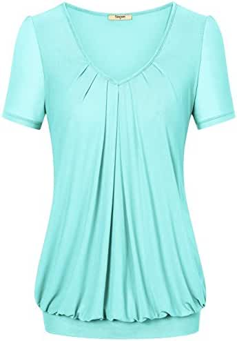 Timeson Women's Short Sleeve Scoop Neck Pleated Front Fitted Blouse Top