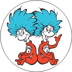 Symbol Pinback Button - DR SEUSS Suess - THING 1 and THING 2 - Logo Symbol Pinback Button 1.25