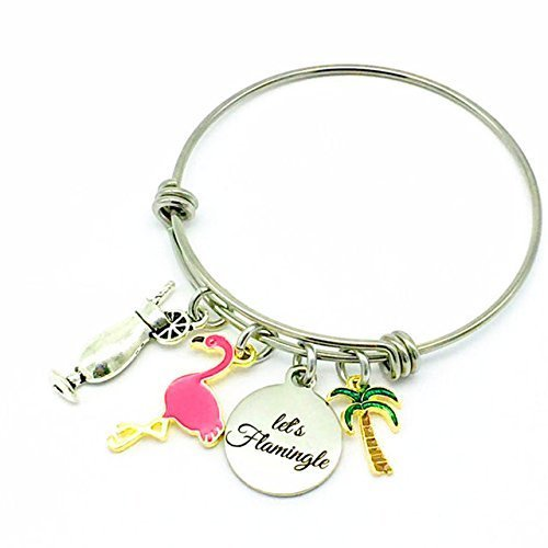 Let's Flamingle, Flamingo and Cocktail Tropical Beach Party Bangle Bracelet