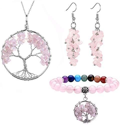 Jovivi 7 Chakra Tree of Life Tumbled Gemstone Healing Crystals Necklace & Earrings & Chakra Bracelet Sets