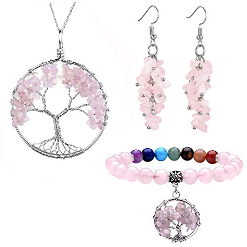 (Jovivi Rose Quartz Healing Crystals Jewelry Sets - Tree of Life Tumbled Gemstone Necklace & Chip Stones Dangle Earrings & Healing Engergy Chakra Stretch Bracelet)