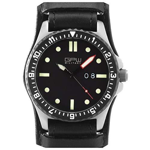 German Military Titanium Watch. GPW Big Date. Sapphire Crystal. Black German Bund Leatherstrap. 200M W/R.