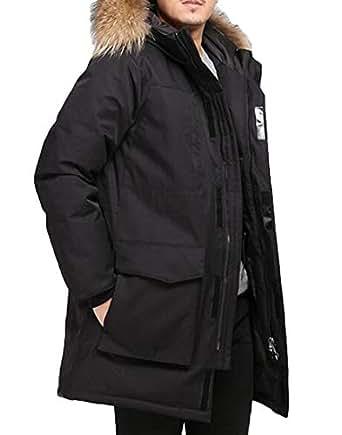 BYWX Men Longline Thick Winter Hooded Faux Fur Warm Coats