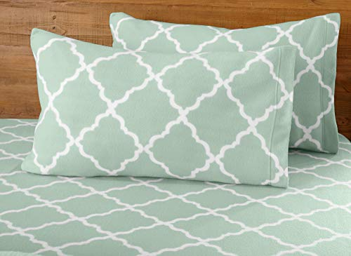 Great Bay Home Super Soft Extra Plush Polar Fleece Sheet Set. Cozy, Warm, Durable, Smooth, Breathable Winter Sheets with Cloud Lattice Pattern. Dara Collection Brand. (Queen, Harbor Blue)