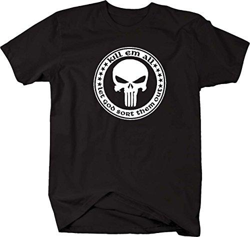 Kill Em All Let God Sort Them Out Punisher Skull Military T shirt - Large