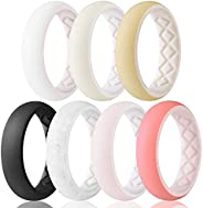 Egnaro Silicone Wedding Ring for Women, Inner Arc Ergonomic Breathable Design with 2 Colors, Women's Silic