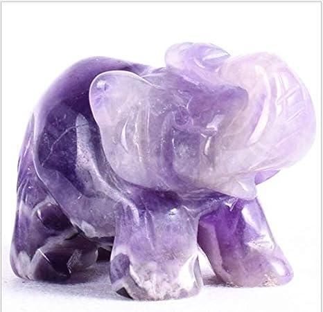 "1.5/"" Elephant Figurine Amethyst Healing Stone Carving Statue Gemstone Decor Gift"