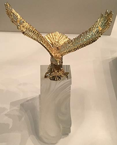 Gorgeous Retro Gold Eagle Figurine Perched on Acrylic Base Award