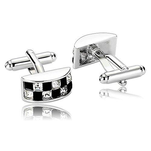 - KnSam Men Stainless Steel French Cufflinks Rectangle Checker Crystal Tie Bar Black White[Shirt Cufflinks]