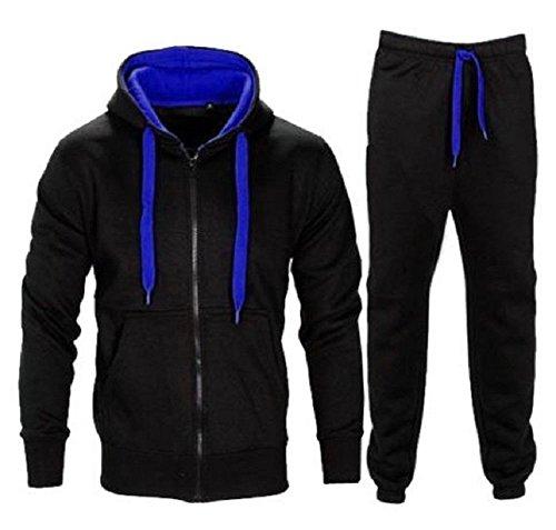 (New Kids Boys Contrast Drawcord Fleece Hooded Top Bottom Set Jogging Tracksuit Black-Blue)