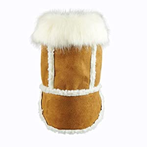 Fitwarm Faux Shearling Pet Jacket for Dog Winter Coats Hooded Clothes Brown, Large