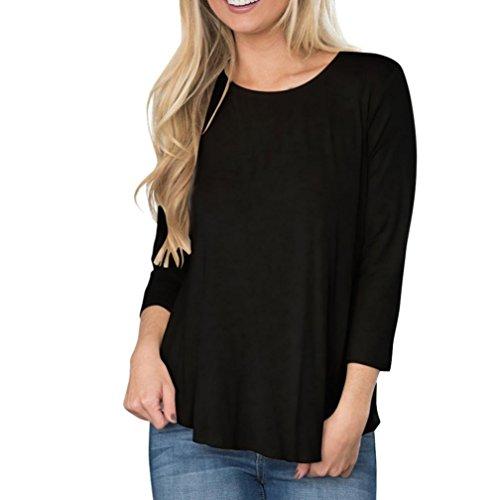 Vovotrade Mujer Moda Suelto Manga larga Escotado por detrás Labor de retazos Cordón Tops Camiseta Blusa Negro