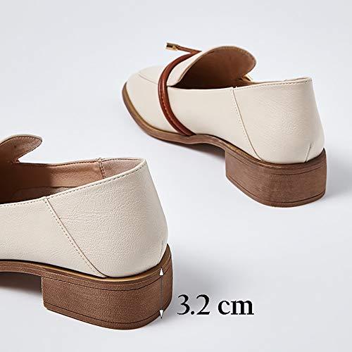 La Punto Bajo Top Blanco Para Zapatos Yxx De Plana Primavera Chunky Deslizamiento Mujer Los Dedo Janes Zapatos Del Mary zapatos talón Hol Ocasional En Cuadrado Pie Cq8UCTw