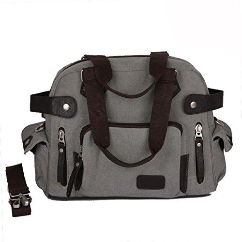 Retro Messenger Shoulder Handbag Viaggio Zaino Sling,Grey-OneSize
