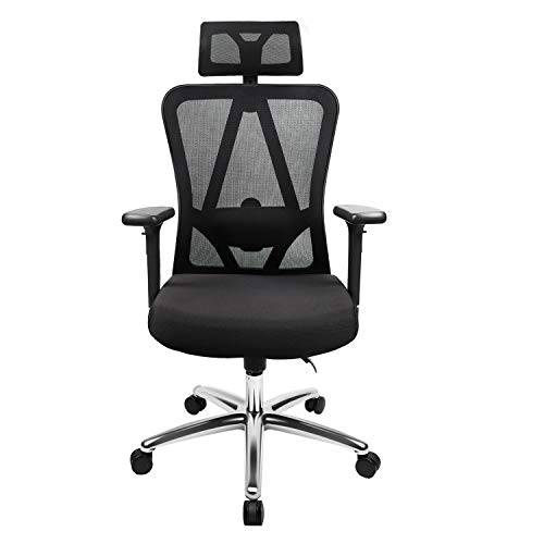 Ergonomic Office Chair High Back Mesh Chair with Adjustable Headrest, Armrest and Lumbar Support, Thicker Padded Home Office Chair, Tilt Function with Position Lock