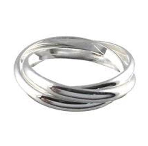[.925 Silver Plated Triple Interlocked Circle Band Ring (8)] (Best Pug Costumes)