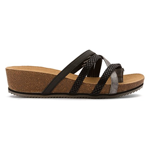 BEARPAW Womens Athena Faux Leather, Rubber Thong Sandals Black