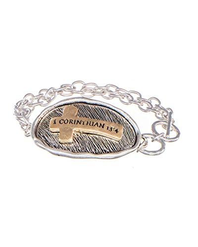 Jewelry Nexus 1 Corinthian 13:4 Stamped Sideways Cross Textured Toggle Bracelet, (Cross Toggle Bracelet)