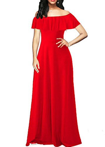 Chic-Lover Womens Summer Ruffle Maxi Dress Off Shoulder Party Homecoming Casual Long Flowy Dress