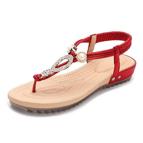 Sandalias De Verano Femenina Clip Toe Zapatos Planos De Agua Palabra Diamante Con La Playa Zapatos Zapatos Rojo