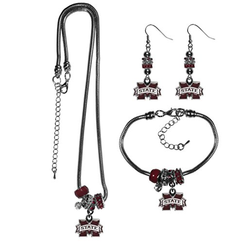 Siskiyou NCAA Mississippi State Bulldogs Euro Bead Jewelry Set of 3
