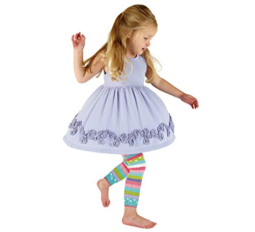 Fun Footless Tights - Country Kids Girls' Fashion Footless Cotton Tights Candy Colors Stripe Pattern Ankle Length, Pack of 2, Fits 6-8 Years, Pink/Aqua