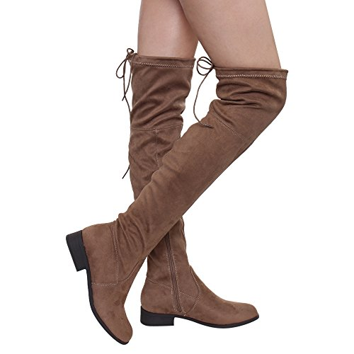 Betani Fd00 Mujeres Block Tacón Con Cordones Stretchy Over The Knee Botas Taupe