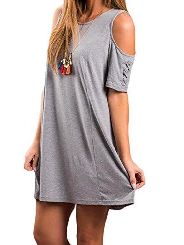 Jaycargogo Robes Swing Épaule Froide Femmes Manches Courtes T-shirt Gris Tenue Décontractée