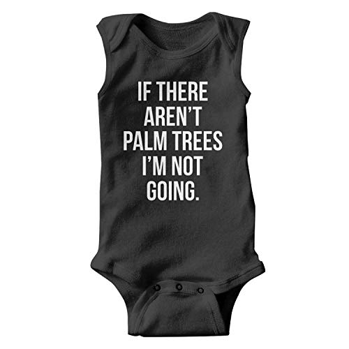 (PoPBelle Palm Sunday If There aren't Palm Trees Baby Onesie Black Clothing Sleeveless Jumpsuits Cotton Soft)