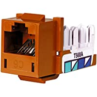 Hubbell HXJ6OR25 XCELERATOR Series Jack, CAT6, 8 Position, Universal 586A/B, Orange (Pack of 25)
