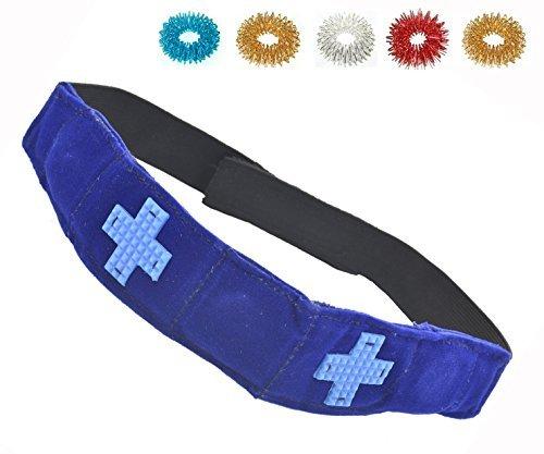 Migraine Headache Medicines (ACS / ACM Magnetic Pyramid Acupressure Multi Energy Head Belt Headache, Migraine, Dizziness + 5pcs Sujok Rings Magnetic Head Belt - 57 X 4 X 0.5 Cm (L X B X H) Blue Velvet)