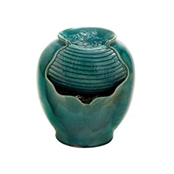 Indoor Outdoor Water Fountain, Portable Turquoise Tabletop Accent Waterfall.  Transitional U0026 Versatile Design Perfectly