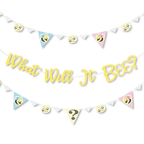 Big Dot of Happiness What Will It Bee - Gender Reveal Letter Banner Decoration - 36 Banner Cutouts and What Will It Bee Banner Letters
