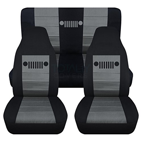 Totally Covers Fits 1987-1995 Jeep Wrangler YJ Seat Covers: Black & Charcoal - Full Set: Front & Rear (23 Colors) 1988 1989 1990 1991 1992 1993 1994 2-Door Complete Back ()